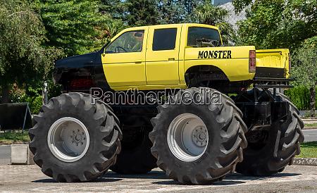 view of yellow monster truck