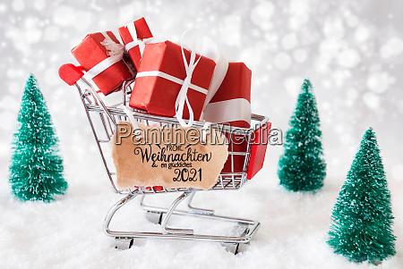 shopping cart snow christmas gift glueckliches
