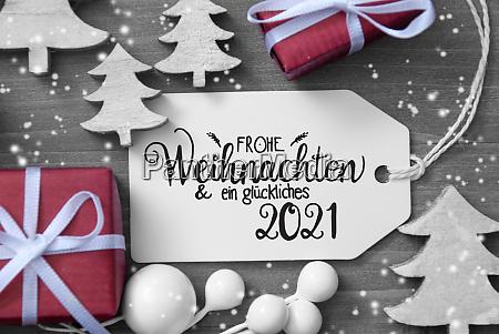 gifts tree decoration label glueckliches 2021