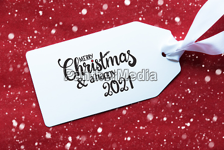 red background label merry christmas and