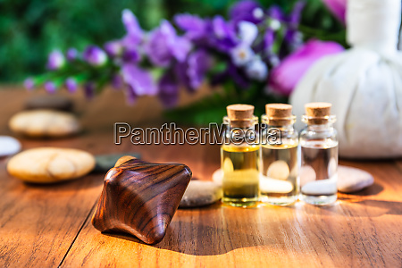 thai spa massage setting bottle with