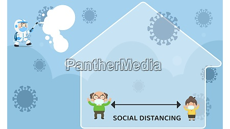 stay home with social distance and