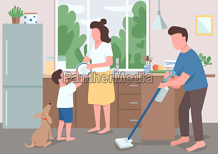 family house cleanup flat color vector