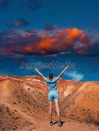 woman on mars landscape