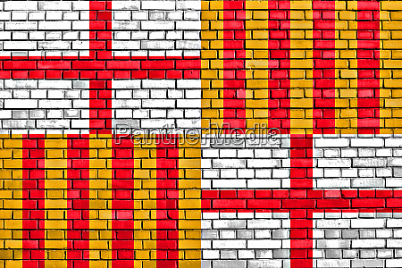 flag of barcelona painted on brick