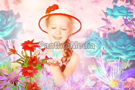 summer rose garden beautiful girl