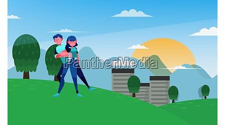 couple is walking in the garden