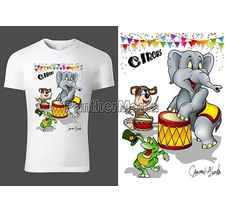 t shirt design with cartoon circus