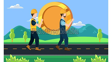 builder carrying a big coin on