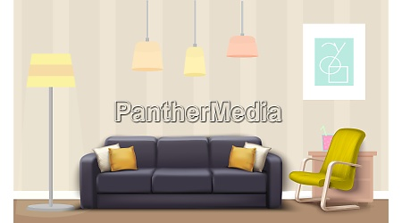 mock up illustration of gray couch