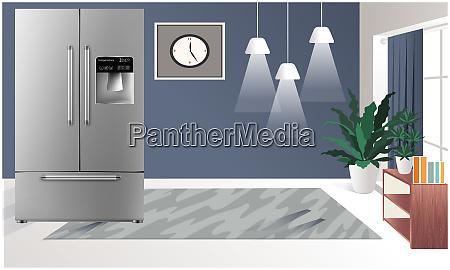 mock up illustration of realistic refrigerator