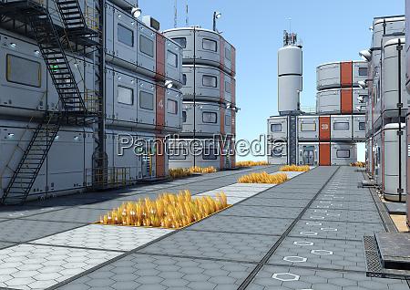 3d rendering science fiction city