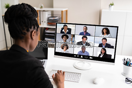 african woman video conference business call