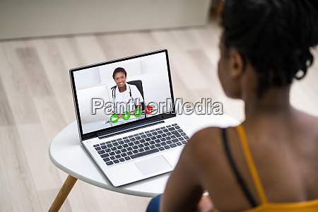 online videoconference on laptop