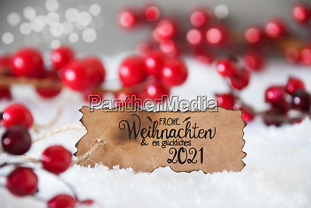 red christmas decoration snow label glueckliches