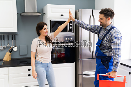 happy woman doing high five