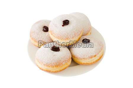 traditional sweet donuts with powdered sugar
