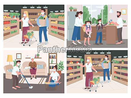 quarantine flat color vector illustrations set