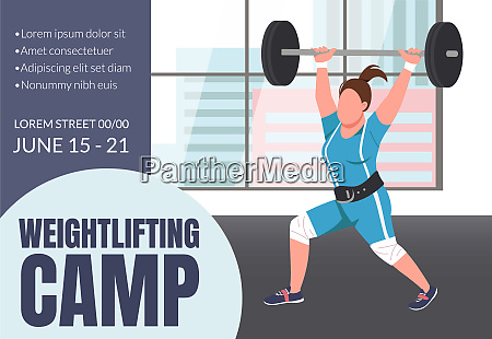 weightlifting camp banner flat vector template