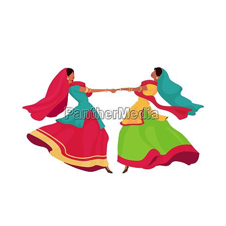indian girls in sari flat color