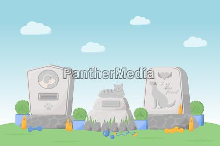 pet memorial flat color vector illustration