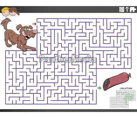 maze educational game with cartoon dog