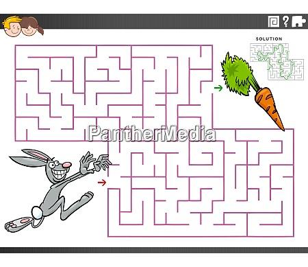 maze educational game with cartoon rabbit