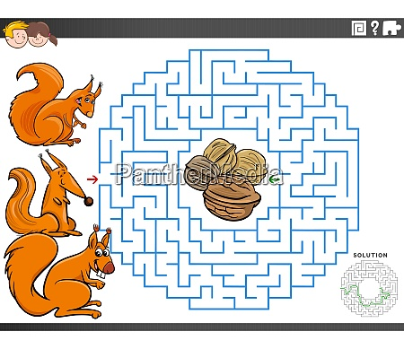maze educational game with squirrels and