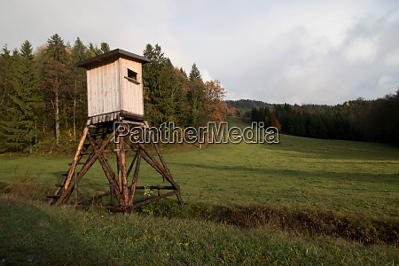 wooden raised hide for forester