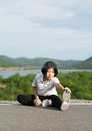 woman preparing for jogging outdoor