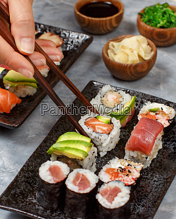 close up of hand taking roll