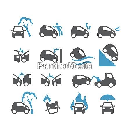 car accident insurance black vector icon
