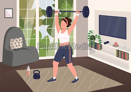 weightlifting at home flat color vector