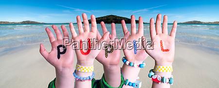 children hands building word pupil ocean