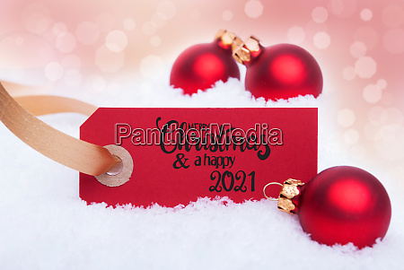 red christmas ball ornament snow label