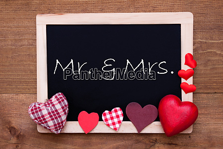 balckboard with red heart decoration text