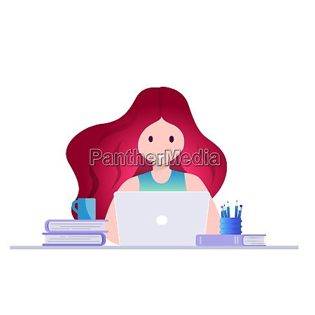 online education self learning concept vector