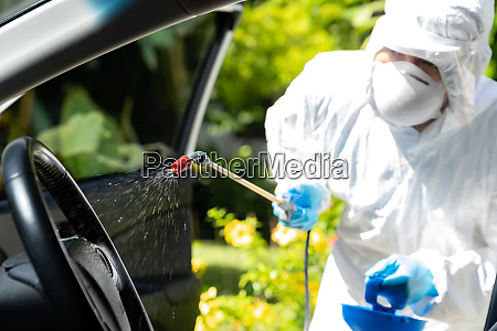 vehicle sterilization by ppe medical staff