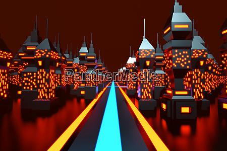 retro, computer, game, space, city - 28654743