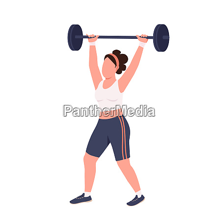 sportswoman lifting barbell flat color vector