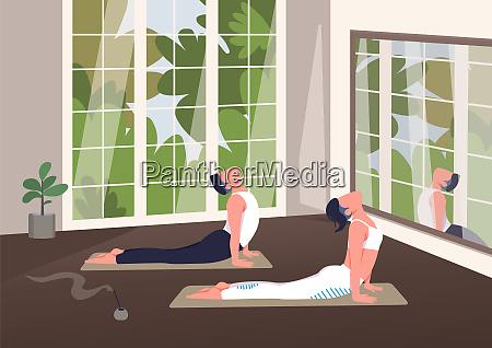 indoor yoga class flat color vector