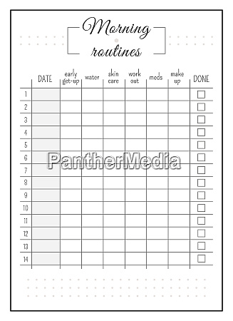 daily routine minimalist planner page design