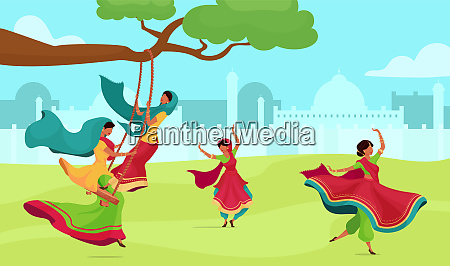 teej celebration flat color vector illustration