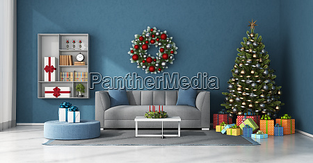 blue living room with christmas decoration