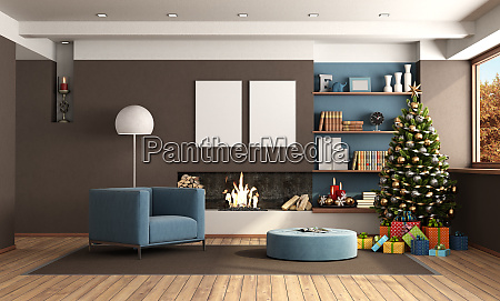 living room with christmas decoration and