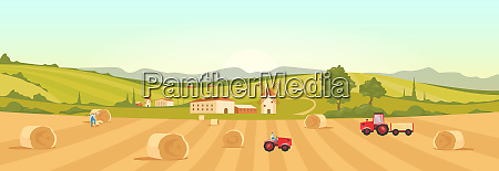 farmland flat color vector illustration