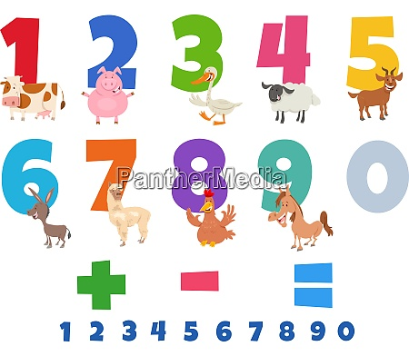educational numbers set with funny farm