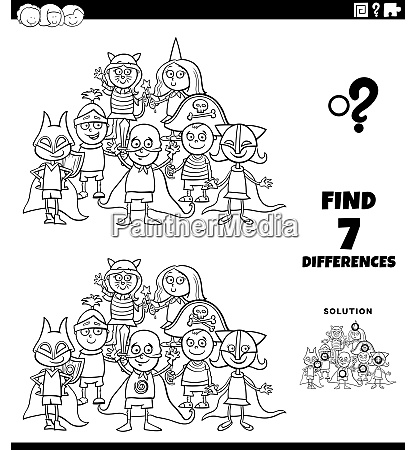 differences task with kids at costume