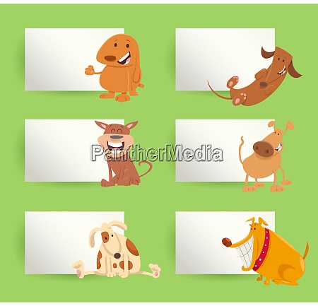 dogs and puppies cartoon cards design