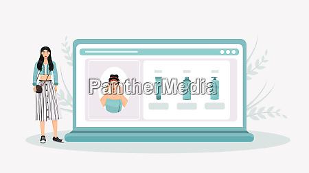 skincare routine online tutorial flat concept